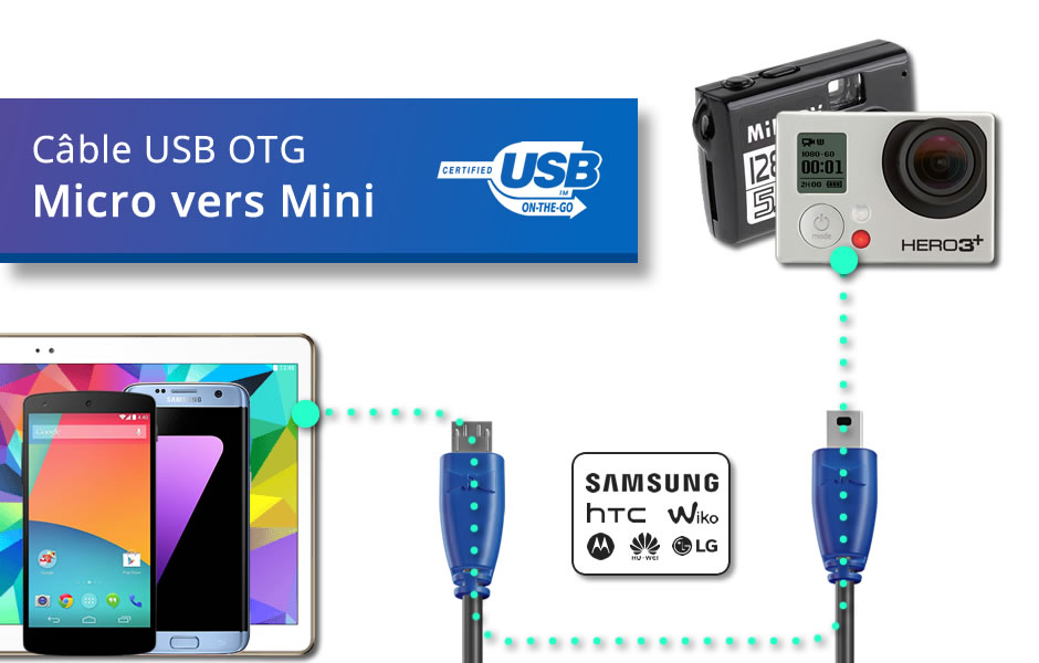 Câble OTG (Type Micro vers Mini)
