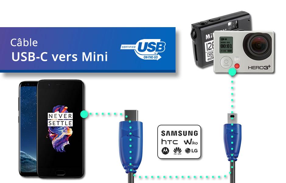 Câble USB Type C vers Mini