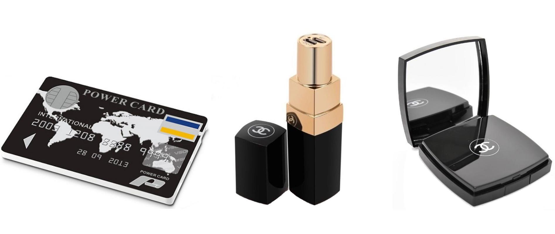 Batteries externes : carte de crédit, rouge à lèvres & miroir