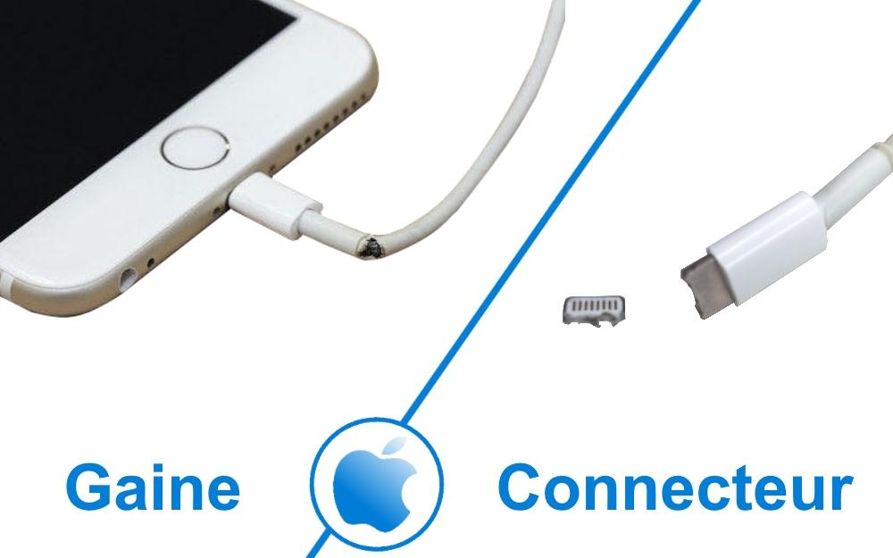 Câble iPhone Lightning endommagé gaine et connecteur