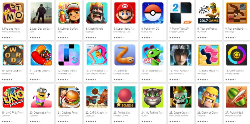 Jeux smartphones & tablettes