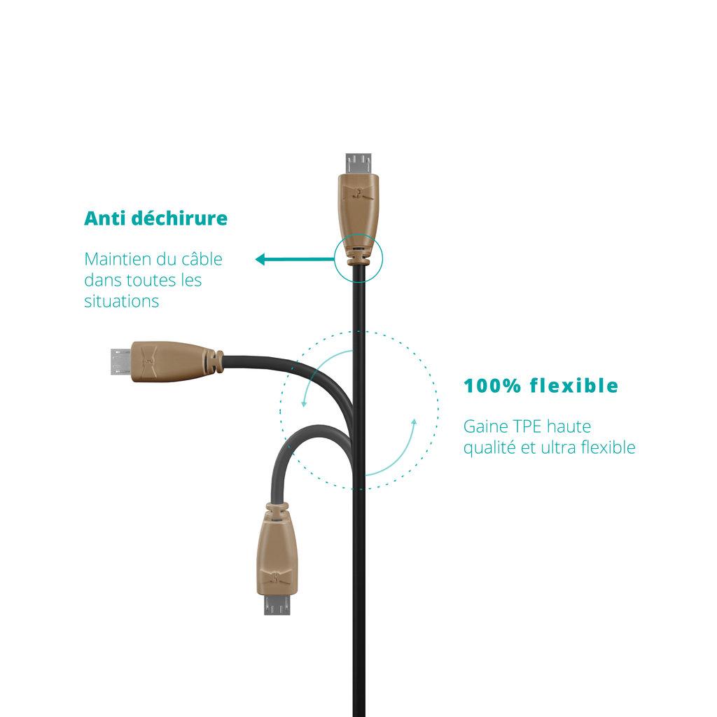 Câble Micro USB 1m Beige et Noir (sans marquage) - Vue flexibilité