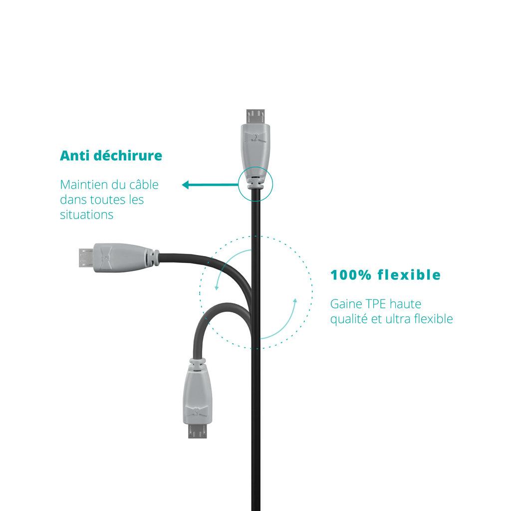 Câble OTG (Type Micro) 30cm Gris et Noir (impr. image «phone» & image «musicnotes») - Vue flexibilité