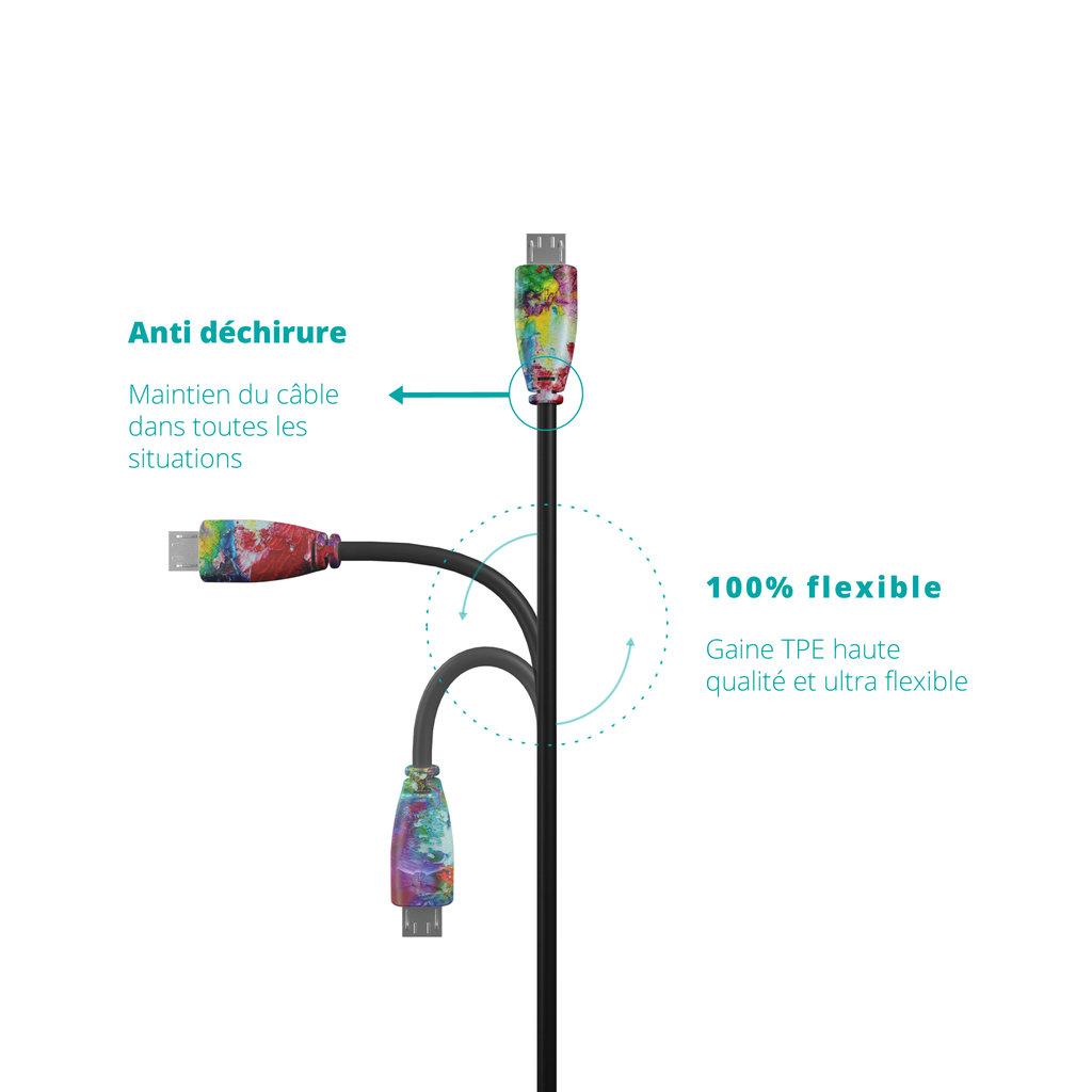 Câble USB Type C vers C 2m Multicouleurs et Noir () - Vue flexibilité