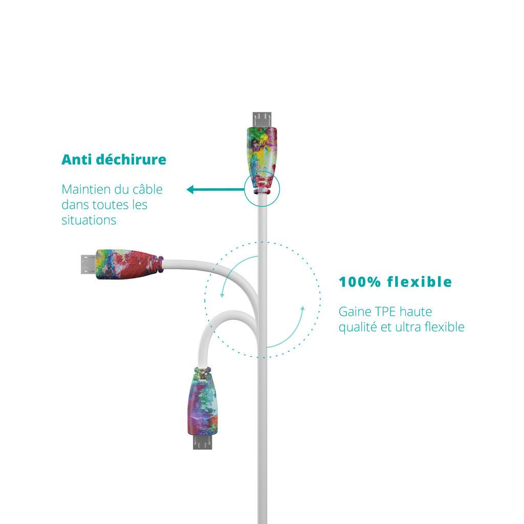 Câble iPhone iPad 1m Multicouleurs et Blanc () - Vue flexibilité