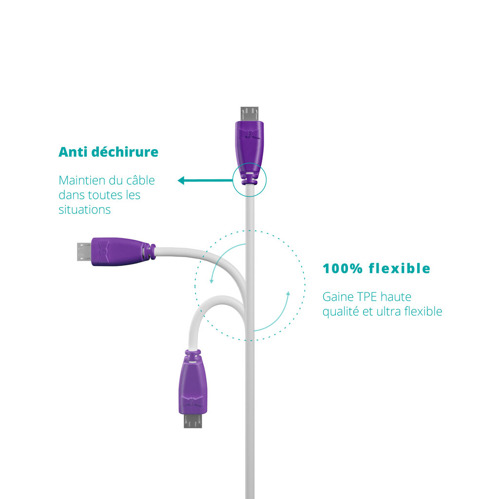Câble Apple Lightning 1m Violet et Blanc (sans marquage) - Vue flexibilité
