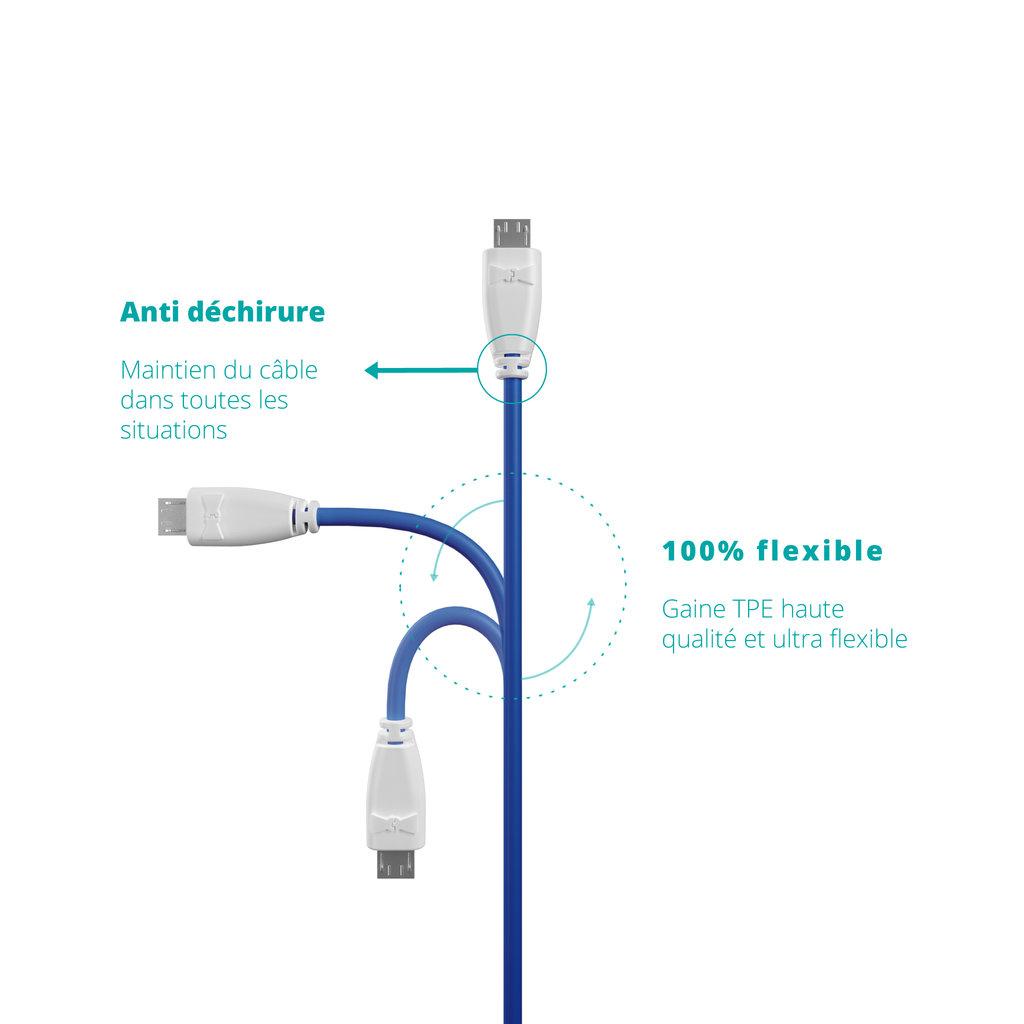 Câble Micro USB 1m Blanc et Bleu (marquage image «moustache») - Vue flexibilité