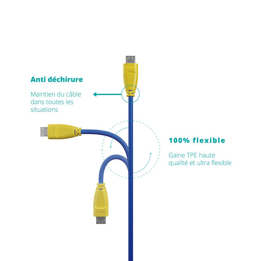 Câble Micro USB 1m Jaune et Bleu (sans marquage) - Vue flexibilité