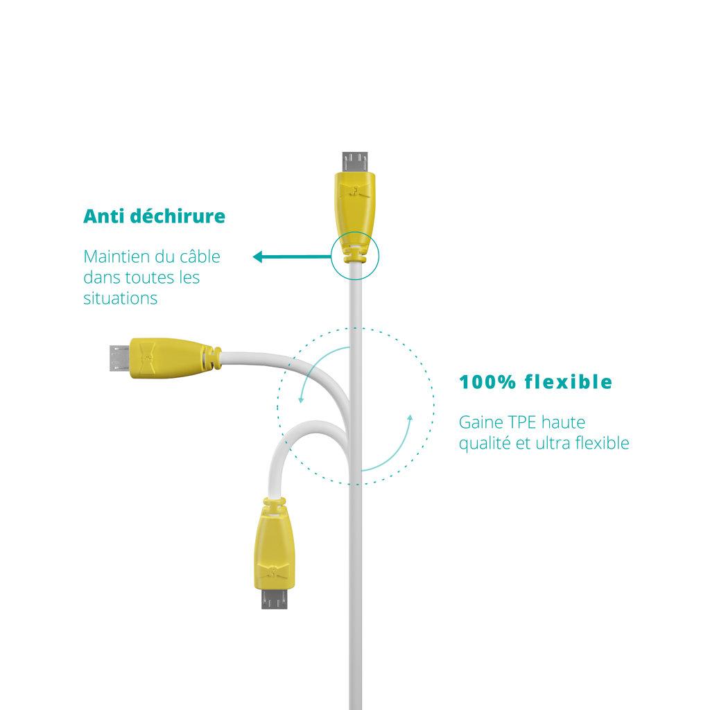 Câble USB-B 1m Jaune et Blanc (marquages image «ananas» & image «ananas») - Vue flexibilité