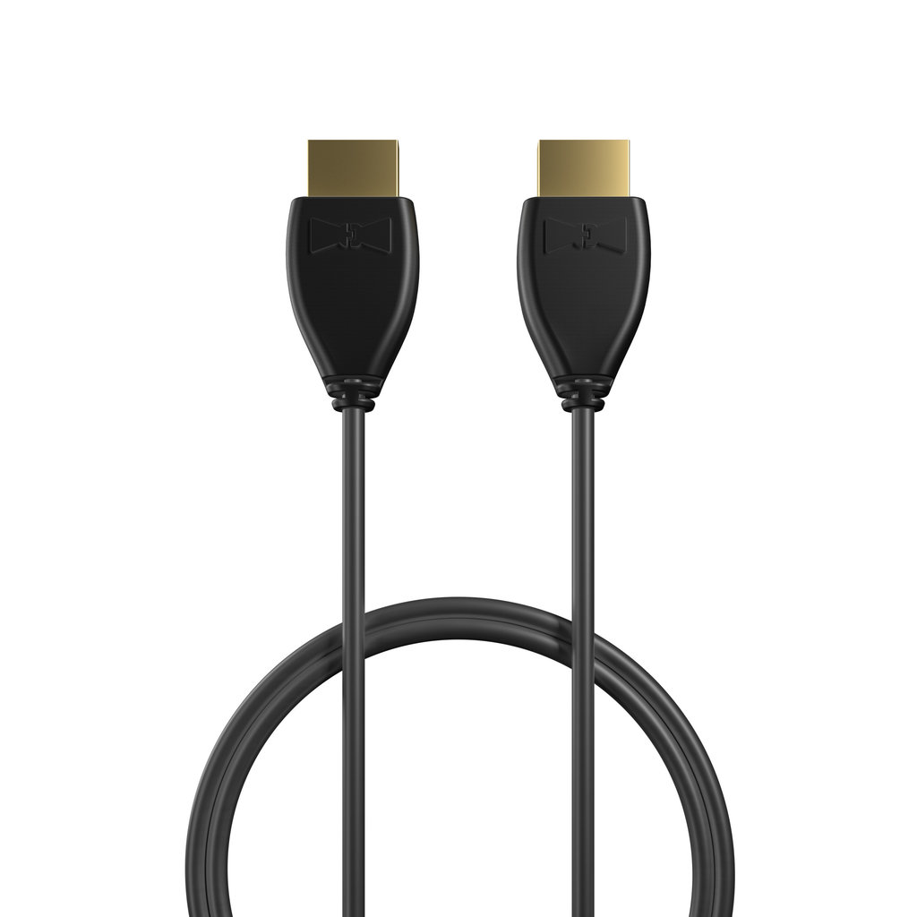 Câble HDMI 2.0 4K 60Hz HDR - 18Gbit/s Premium High Speed - ARC Ethernet - UHD 2160p 1m Noir (sans marquage) - Vue câble