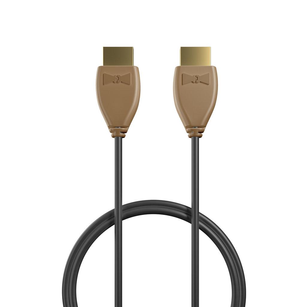 Câble HDMI 4K 60Hz HDR / HDMI 2.0 1m Beige et Noir (impr. motif «wood» & motif «wood») - Vue câble