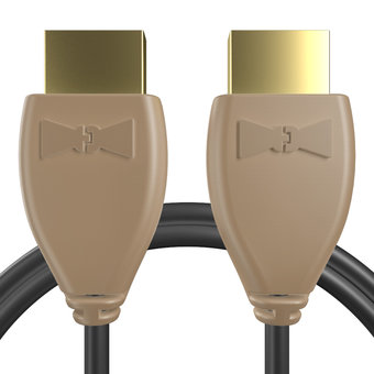 Câble HDMI 2.0 4K 60Hz HDR - 18Gbit/s Premium High Speed - ARC Ethernet - UHD 2160p 1m Beige et Noir (marquages motif «wood» & motif «wood»)