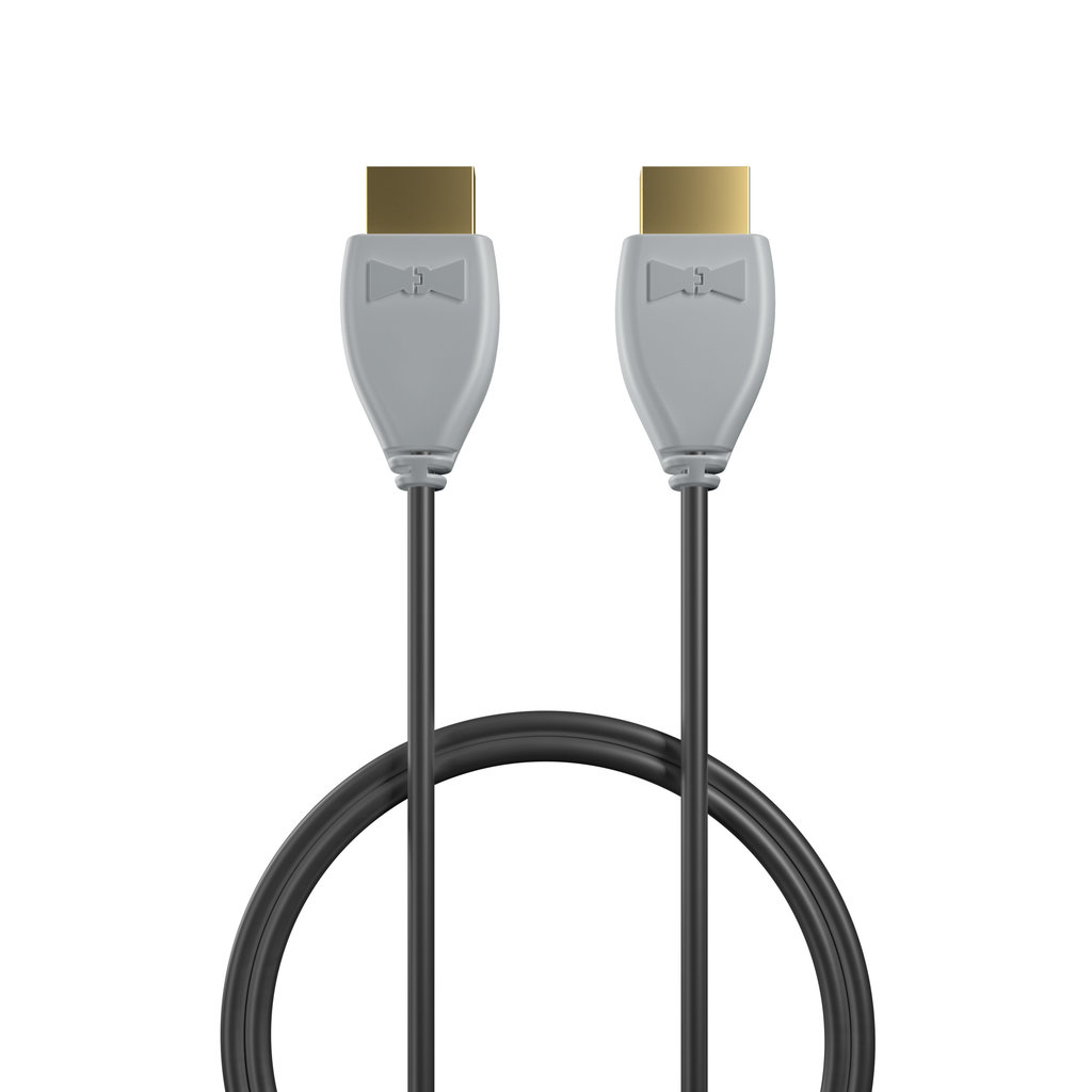 Câble HDMI 2.0 4K 60Hz HDR - 18Gbit/s Premium High Speed - ARC Ethernet - UHD 2160p 1m Gris et Noir (marquages image «headphones» & image «headphones») - Vue câble