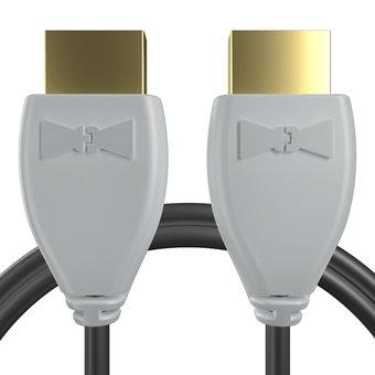 Câble HDMI 2.0 4K 60Hz HDR - 18Gbit/s Premium High Speed - ARC Ethernet - UHD 2160p 1m Gris et Noir (marquages image «4khdrultrahd» & image «gamepad»)