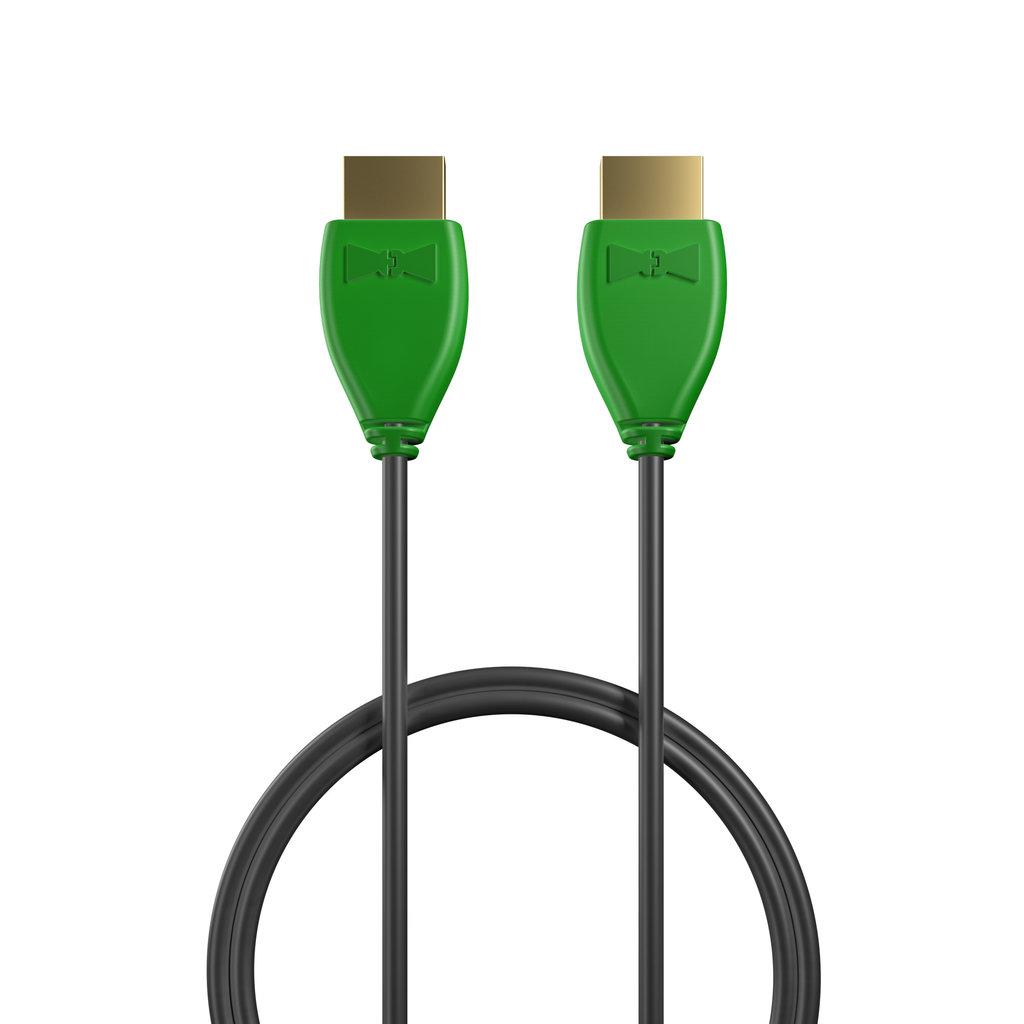Câble HDMI 2.0 4K 60Hz HDR - 18Gbit/s Premium High Speed - ARC Ethernet - UHD 2160p 50cm Vert et Noir (sans marquage) - Vue câble