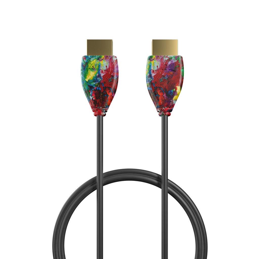 Câble HDMI 2.0 4K 60Hz HDR - 18Gbit/s Premium High Speed - ARC Ethernet - UHD 2160p 1m Multicouleurs et Noir (sans marquage) - Vue câble