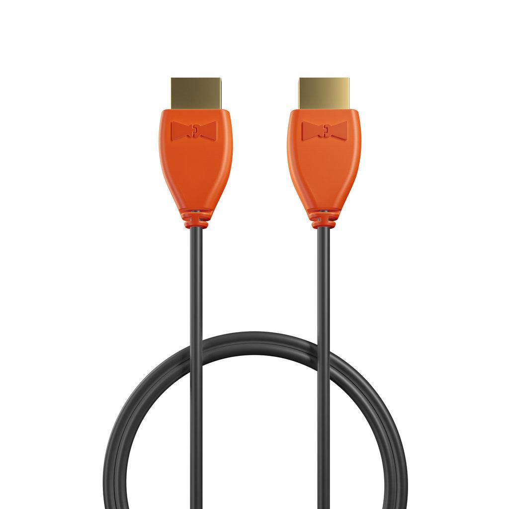 Câble HDMI Premium High Speed - HDMI 2.0 / 4K / HDR 1m Orange et Noir (sans marquage) - Vue câble