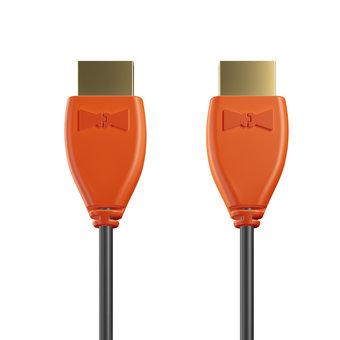 Câble HDMI Premium High Speed - HDMI 2.0 / 4K / HDR 1m Orange et Noir (sans marquage)