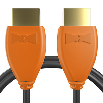 Câble HDMI 2.0 4K 60Hz HDR - 18Gbit/s Premium High Speed - ARC Ethernet - UHD 2160p 1m Orange et Noir (marquages image «4khdrultrahd» & image «4khdrultrahd»)