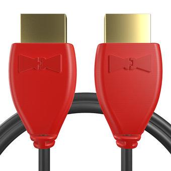 Câble HDMI 2.0 4K 60Hz HDR - 18Gbit/s Premium High Speed - ARC Ethernet - UHD 2160p 1m Rouge et Noir (marquages image «4khdrultrahd» & texte «PS4»)