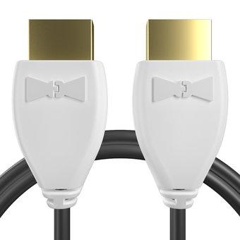 Câble HDMI pour TV/Télévision/Téléviseur TOSHIBA Blanc et Noir - 1m