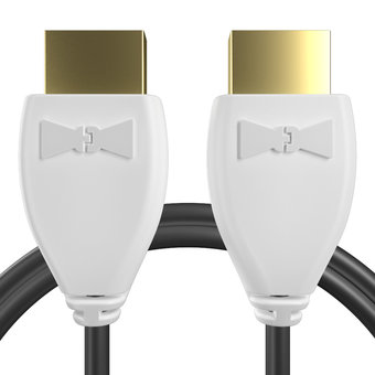 Câble HDMI 2.0 4K 60Hz HDR - 18Gbit/s Premium High Speed - ARC Ethernet - UHD 2160p 1m Blanc et Noir (marquages image «4khdrultrahd» & image «4khdrultrahd»)