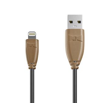 Câble Apple Lightning 1m Beige et Noir (sans marquage)