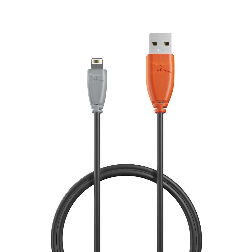 Câble iPhone iPad 1m Gris, Noir et Orange (impr. image «swrebels») - Vue câble