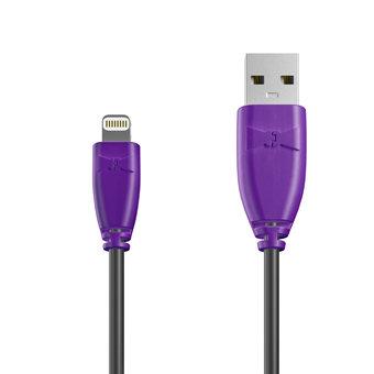 Câble Apple Lightning 1m Violet et Noir (marquage texte «JE SUIS|À PAPA»)