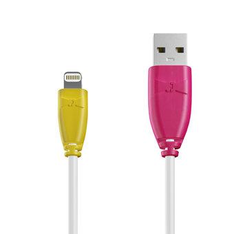 Câble Apple Lightning 1m Jaune, Blanc et Rose (marquages motif «banana» & motif «banana»)