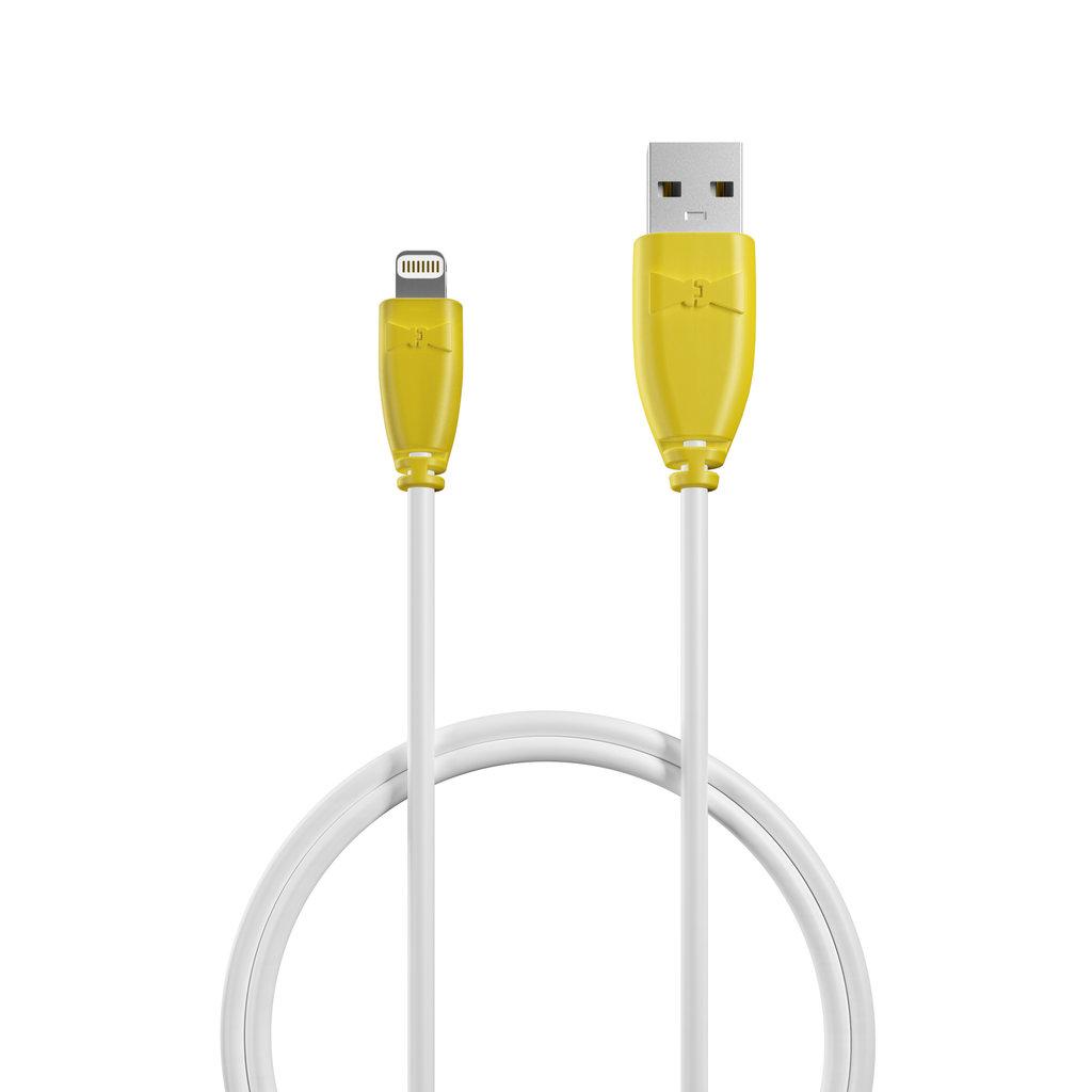 Câble Apple Lightning 1m Jaune et Blanc (marquages image «ananas» & image «ananas») - Vue câble