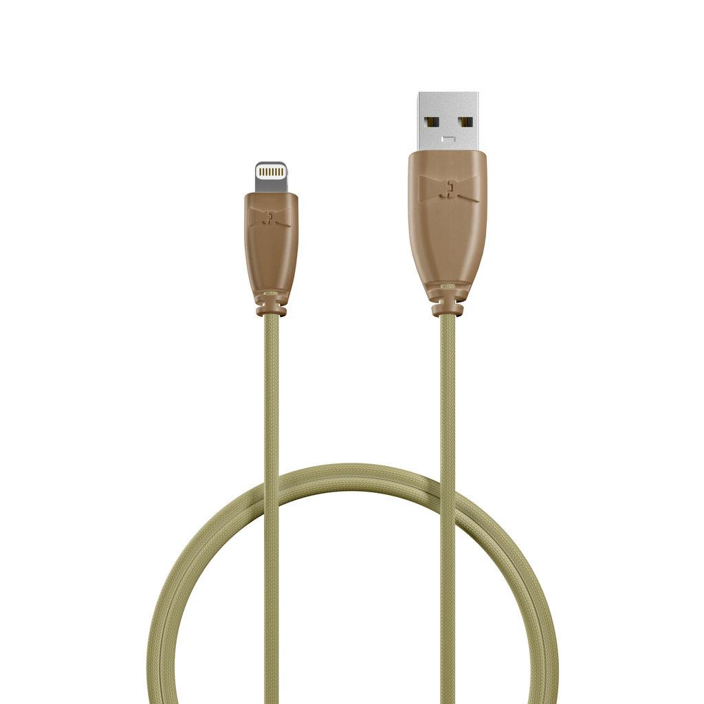 Câble iPhone iPad tressé 50cm Beige et Tissu beige (impr. motif «camouflage» & motif «camouflage») - Vue câble