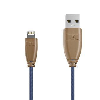 Câble Tissu Apple Lightning 1m Beige et Tissu bleu indigo (marquages motif «leatherdark» & motif «leatherdark»)