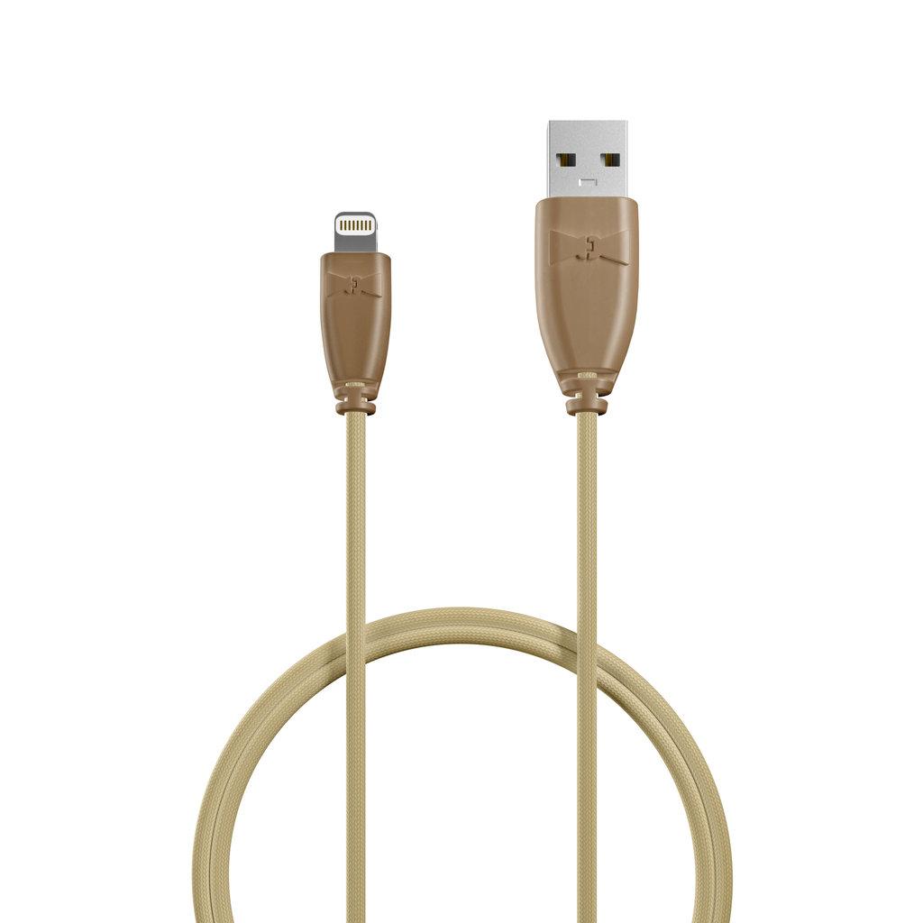 Câble iPhone iPad tressé 1m Beige et Tissu sable (impr. image «cat» & motif «panther») - Vue câble