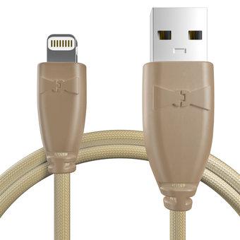 Câble pour Apple iPhone 5s Beige et Tissu sable - 50cm