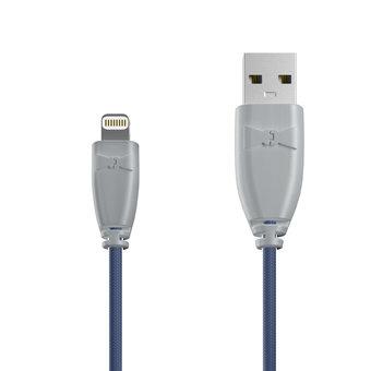 Câble Tissu Apple Lightning 1m Gris et Tissu bleu indigo (marquages motif «passport» & motif «map»)