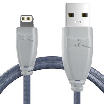Câble pour Apple iPhone 5s Gris et Tissu bleu indigo - 50cm