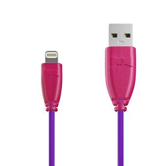 Câble Tissu Apple Lightning 1m Rose et Tissu violet (marquages image «heart» & image «kiss»)