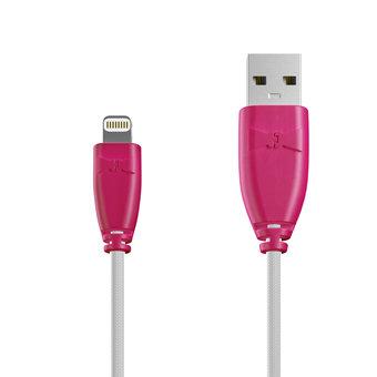 Câble Tissu Apple Lightning 1m Rose et Tissu blanc (marquages image «couple» & texte «Pour|toujours»)