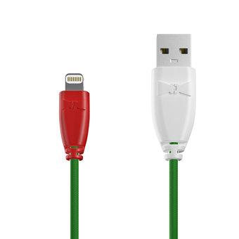 Câble Tissu Apple Lightning 1m Rouge, Tissu vert et Blanc (marquage motif «pizza»)