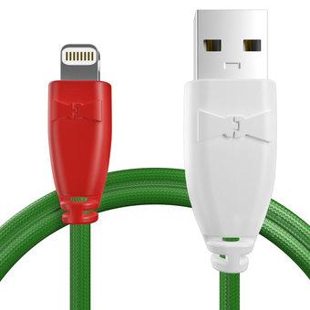 Câble pour Apple iPhone 5c Rouge, Tissu vert et Blanc - 50cm