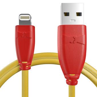 Câble pour Apple iPhone 5c Rouge et Tissu bouton d'or - 50cm
