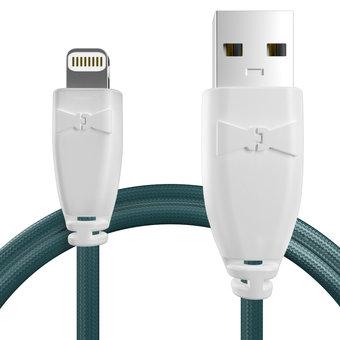 Câble pour Apple iPhone 5s Blanc et Tissu bleu canard - 50cm