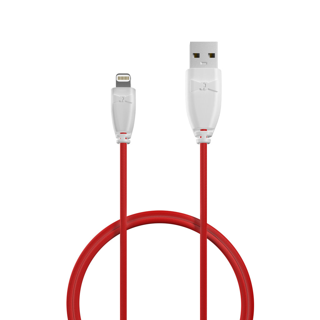 Câble iPhone·iPad tressé 1m Blanc et Tissu rouge (marquages texte «Love U» & image «rose») - Vue câble
