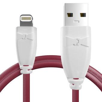 Câble pour Apple iPhone 5c Blanc et Tissu bordeaux - 50cm