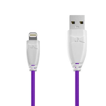 Câble Tissu Apple Lightning 1m Blanc et Tissu violet (marquages motif «unicorns» & motif «unicorns»)