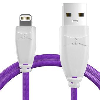 Câble pour Apple iPhone 5c Blanc et Tissu violet - 50cm