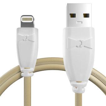 Câble pour Apple iPhone 5s Blanc et Tissu sable - 50cm