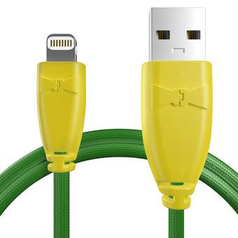 Câble pour Apple iPhone 5s Jaune et Tissu vert - 50cm