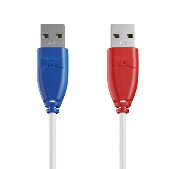 Câble USB (mâle / mâle) 1m Bleu, Blanc et Rouge (sans marquage)